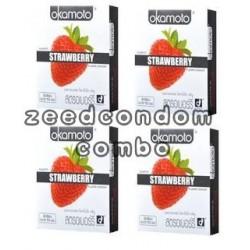 Okamoto Strawberry โฉมใหม่ แพค 4 กล่อง
