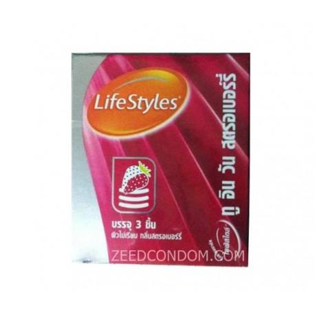 LifeStyles 2 in 1 กลิ่นสตรอเบอรี่ ผิวไม่เรียบ 52 มม. (โฉมใหม่)